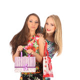 Shopping and tourism concept - beautiful girls with bags. Studio Royalty Free Stock Images