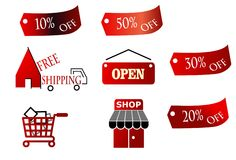Shopping trade icons Stock Images