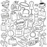 Shopping Traditional Doodle Icons Sketch Hand Made Design Vector vector illustration