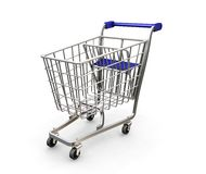 Shopping trolley. 3D render of shopping trolley Stock Image