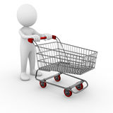 Shopping trolley. 3D anonymous man with a shopping trolley Stock Photography