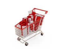 Shopping trolley. With presents. Isolaten on white background Stock Images