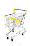 Shopping trolley. Empty shopping trolley on white background Stock Image
