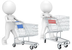 Shopping Trolley. 3D little human character with pushing a Shopping Trolley.Red and blue versions. People series Stock Photography