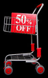 Shopping trolley with 50 percent off sign. On black background Stock Photo