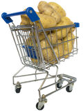 Shopping trolley. Filled with potatoes on a white background Stock Photo