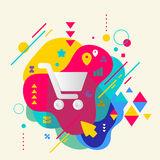 Shopping trolley on abstract colorful spotted background with di Stock Photos