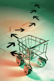 Shopping Trolley with Arrows Stock Image