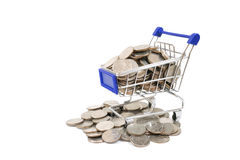 Shopping trolley bring coins Royalty Free Stock Photo