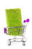 Shopping trolley with carpet isoalted Stock Image