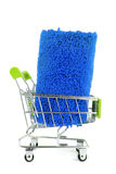 Shopping trolley with carpet Stock Photo