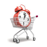 Shopping trolley cart. Time to buy, alarm clock in shopping cart / trolley on white background Royalty Free Stock Photography