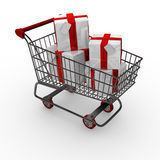 Shopping trolley / cart with gift boxes Royalty Free Stock Photos
