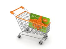Shopping trolley with credit card. Isolated on white Royalty Free Stock Photos