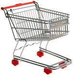 Shopping trolley cutout. One shopping trolley isolated with clipping path Royalty Free Stock Images