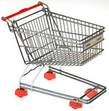 Shopping Trolley Cutout. Empty Shopping Trolley Isolated on White Background Stock Photos