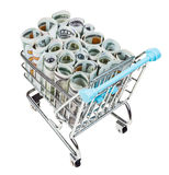 Shopping trolley with dollar banknotes isolated. Shopping trolley with rolls from dollar banknotes isolated on white background Stock Photography