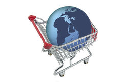 Shopping trolley  with earth isolated Stock Photos