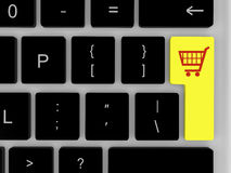 Shopping trolley on enter key Stock Images