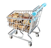 Shopping trolley with euro coins isolated Royalty Free Stock Image