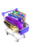 Shopping trolley with fabric Stock Photo