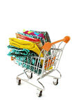 Shopping trolley with fabric Stock Photos