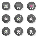 Shopping trolley  flat modern icon set Royalty Free Stock Photos