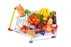 Shopping Trolley of Food on White Background Royalty Free Stock Images