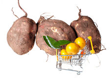 Shopping trolley and fruits Royalty Free Stock Photography