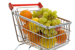 Shopping trolley with fruits, supermarket Royalty Free Stock Photo