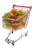 Shopping trolley with fruits, supermarket Royalty Free Stock Images