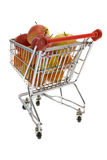 Shopping trolley with fruits, supermarket Stock Photography