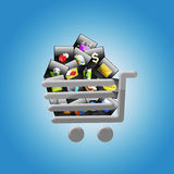 Shopping Trolley Full Applications Stock Image