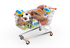 Shopping trolley full of balls. Stock Photo
