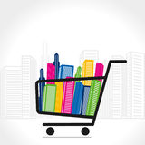 Shopping trolley with full of building Stock Image