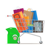Shopping Trolley Full of Different Purchases. Shopping trolley full of bags and boxes and with pack near on white background. Shopping-themed isolated vector Royalty Free Stock Photography