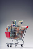 Shopping trolley full of euro money - banknotes - currency. Symbolic example of spending money in shops, or advantageous purchase Stock Photo