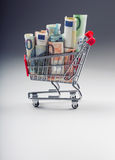 Shopping trolley full of euro money - banknotes - currency. Symbolic example of spending money in shops, or advantageous purchase Royalty Free Stock Photo