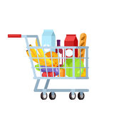 Shopping trolley full of fruit and vegetable Royalty Free Stock Photos