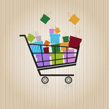 Shopping trolley with gift boxes Stock Photography