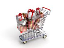 Shopping trolley and gifts Royalty Free Stock Photography