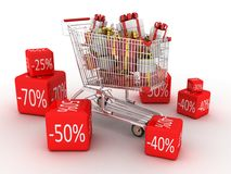 Shopping trolley and gifts Stock Photography