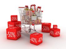 Shopping trolley and gifts, 3D Stock Photos