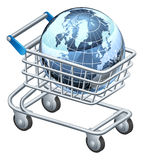 Shopping trolley globe Royalty Free Stock Photos