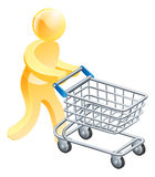 Shopping trolley gold man. A gold mascot person pushing a supermarket shopping cart Royalty Free Stock Photography