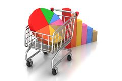 Shopping trolley with graph Stock Image