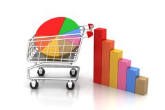 Shopping trolley with graph Royalty Free Stock Image