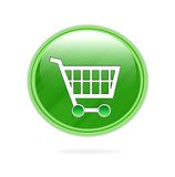 Shopping trolley icon. Green and shiny shopping trolley icon or button isolated over white background vector illustration