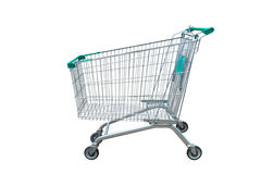 Shopping trolley isolated on white background Stock Images