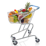 Shopping trolley isolated on white. Shopping trolley full of fresh groceries isolated on a white background Stock Images
